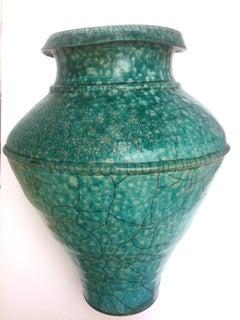 Large Turquoise Raku Pottery Floor Vase