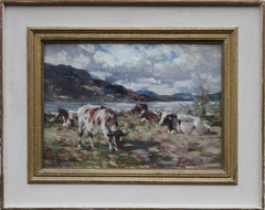 Loch Rannoch - Scottish Impressionist oil painting cattle landscape