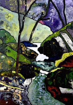 Ceri Falls: Contemporary British Landscape Oil Painting by Andrew Francis