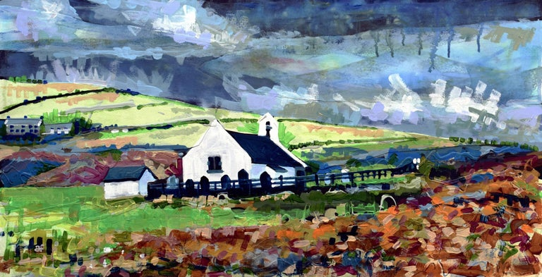 Andrew Francis Landscape Painting - Eglwys y Grog, Mwnt: Contemporary British Landscape Oil Painting