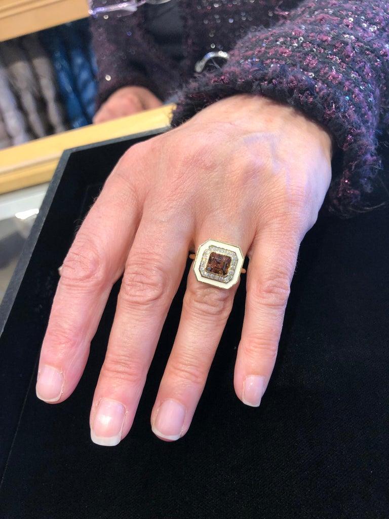Asscher Cut Andrew Glassford Museum Series Tourmaline Ring with Diamonds in Cream Enamel For Sale
