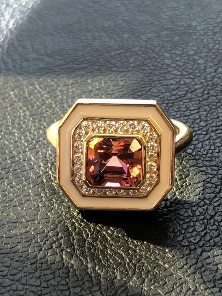 Andrew Glassford Museum Series Tourmaline Ring with Diamonds in Cream Enamel In New Condition For Sale In Dallas, TX