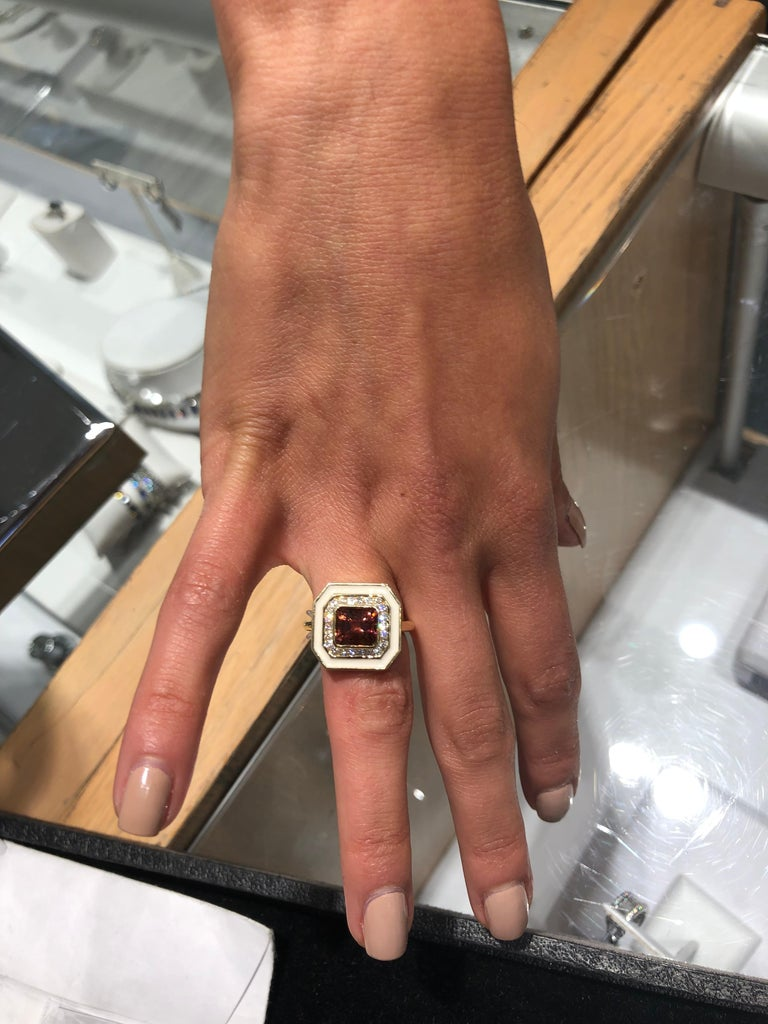 Women's or Men's Andrew Glassford Museum Series Tourmaline Ring with Diamonds in Cream Enamel For Sale