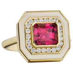 Andrew Glassford Museum Series Tourmaline Ring with Diamonds in Cream Enamel