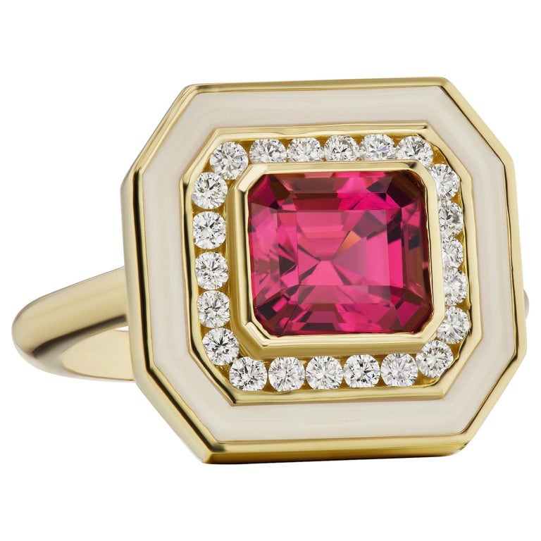 Andrew Glassford Museum Series Tourmaline Ring with Diamonds in Cream Enamel For Sale