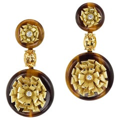 Andrew Glassford's Tiger-Eye Chalcedony, Diamond and Gold Earrings