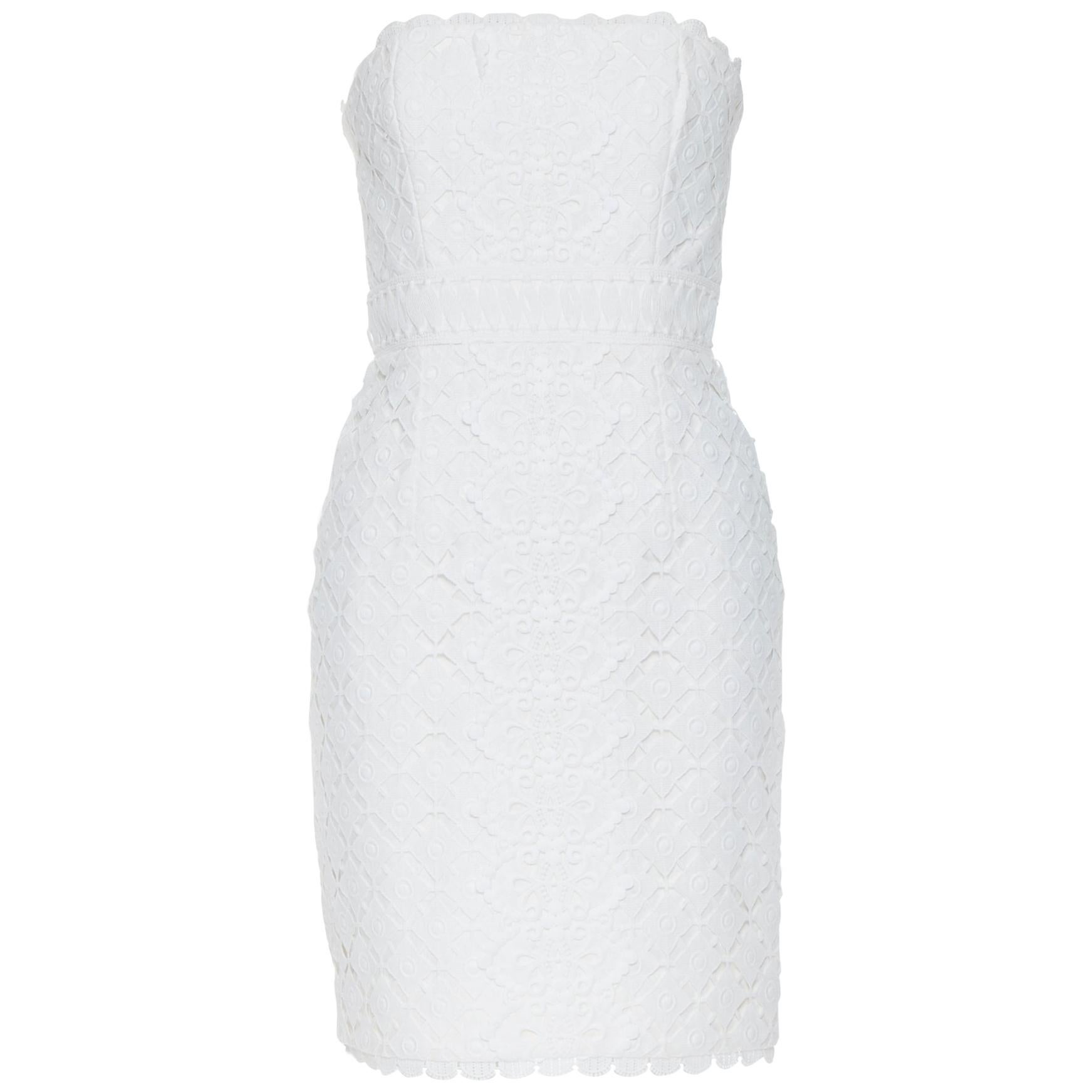 ANDREW GN 2009 white floral lace lattice strapless cocktail dress IT36 XS