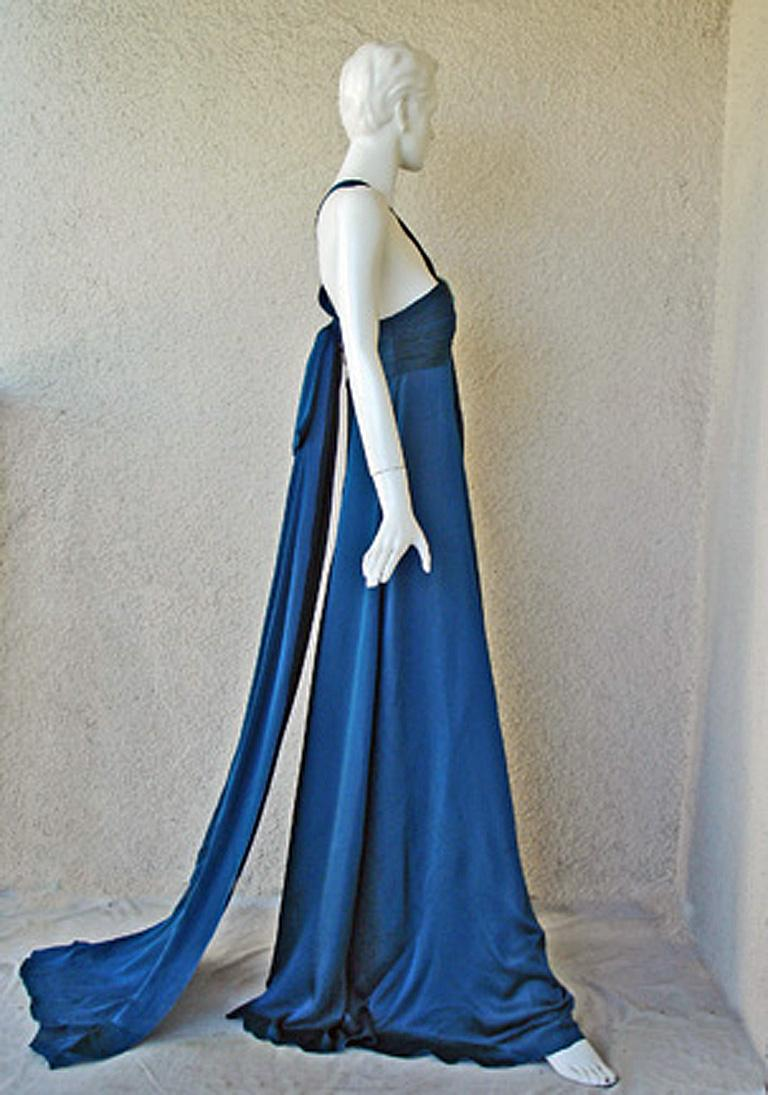 Blue Andrew Gn $8.5K Art Deco Inspired Jeweled Halter Dress Gown with Train NEW!