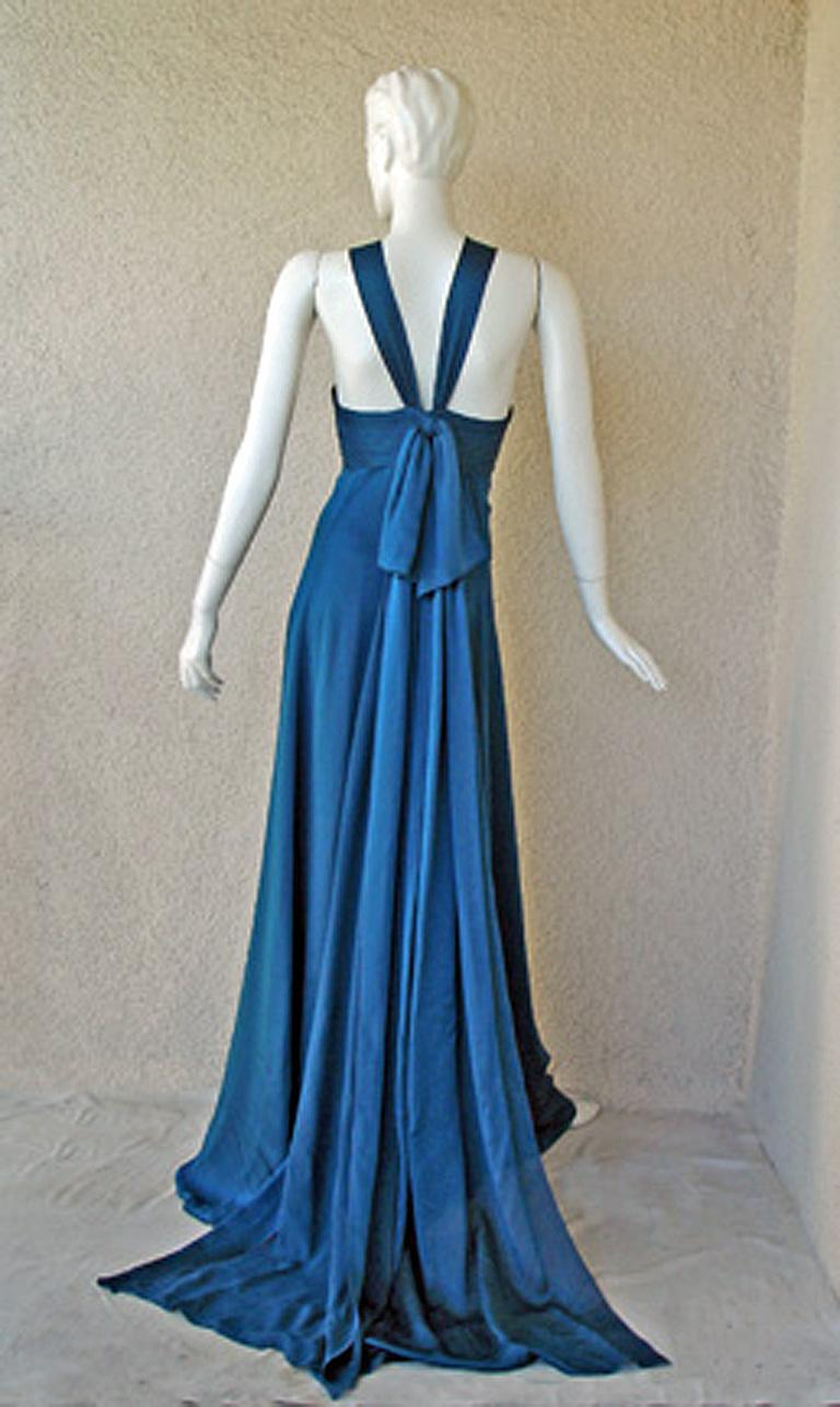 Women's Andrew Gn $8.5K Art Deco Inspired Jeweled Halter Dress Gown with Train NEW! For Sale