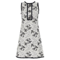 ANDREW GN beige linen cotton floral embroidery enamel  button shift dress FR36