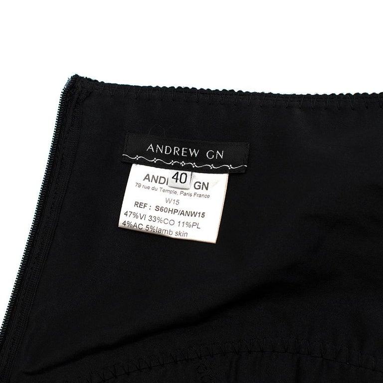 Andrew GN Black Contrast Panelled Scallop Hem Mini Skirt FR40 For Sale 2