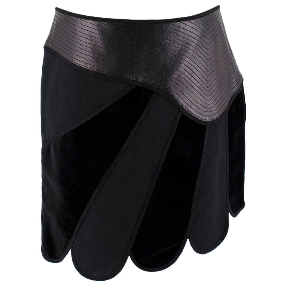 Andrew GN Black Contrast Panelled Scallop Hem Mini Skirt FR40