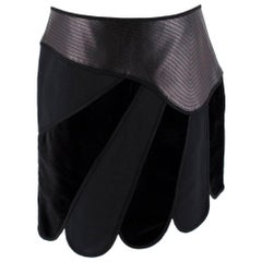Andrew GN Black Contrast Panelled Scallop Hem Mini Skirt FR40