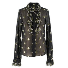 Andrew GN Black Polka Dot Embroidered Shirt SIZE S