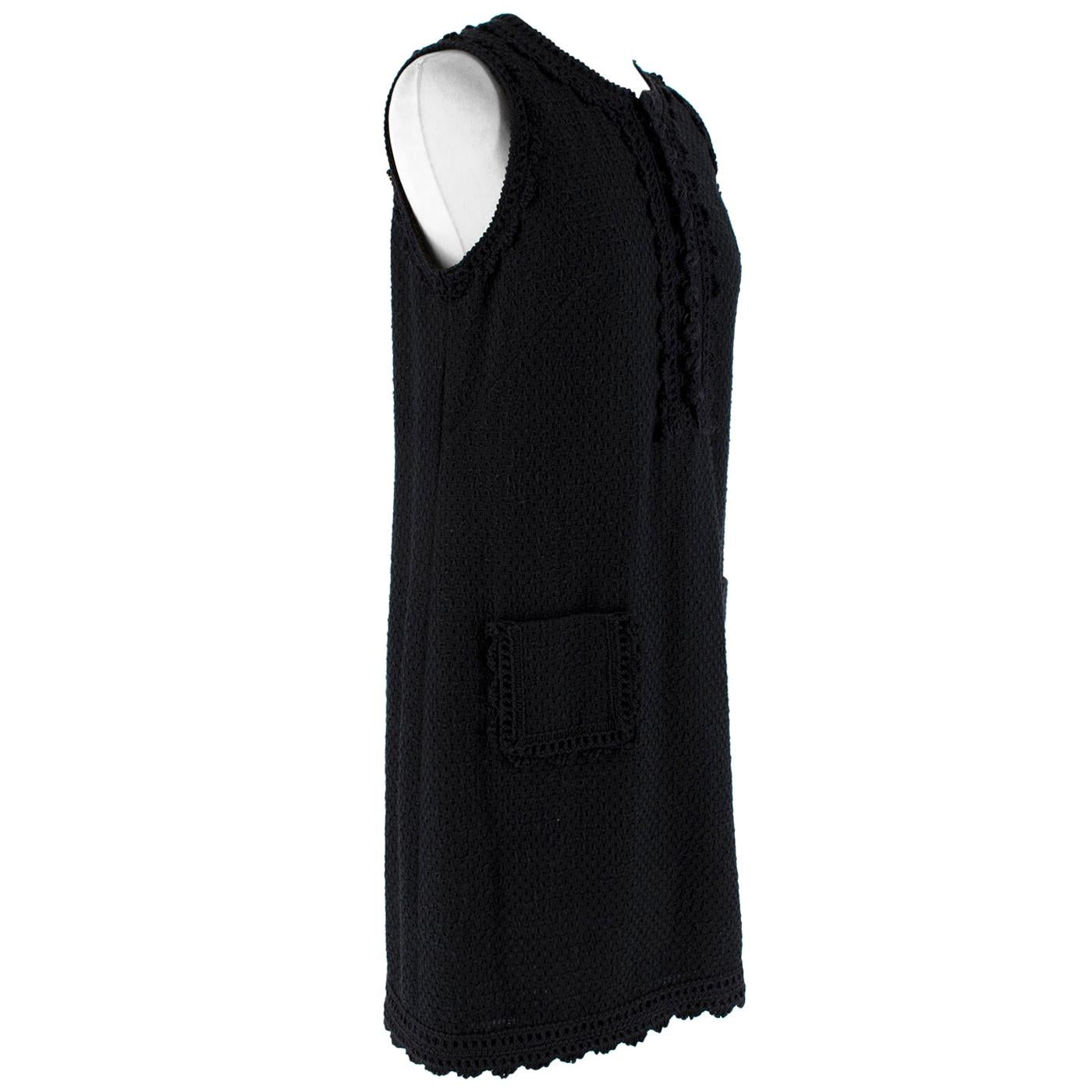 Andrew GN Black Sleeveless Textured Cotton Dress - Size US6