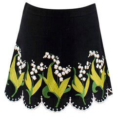 Andrew GN Embroidered Scalloped Mini Skirt S