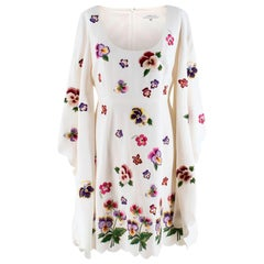 Andrew GN Floral Embroidered Scoop Neck Dress M 40
