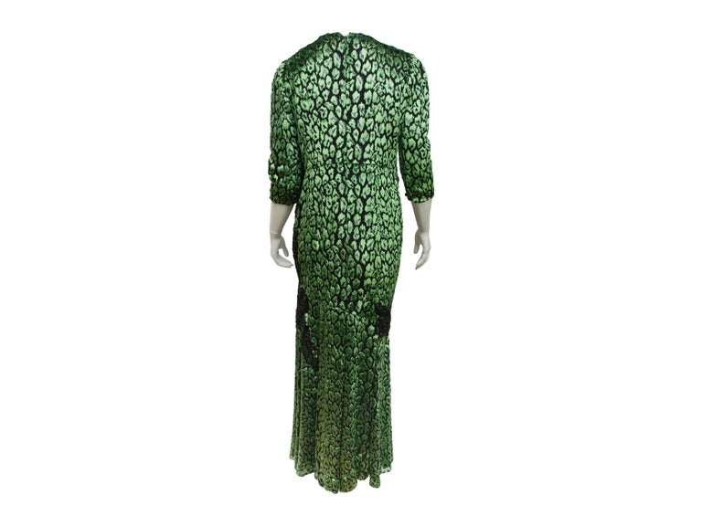 Andrew Gn Metallic Green & Black Embellished Gown In Excellent Condition For Sale In New York, NY