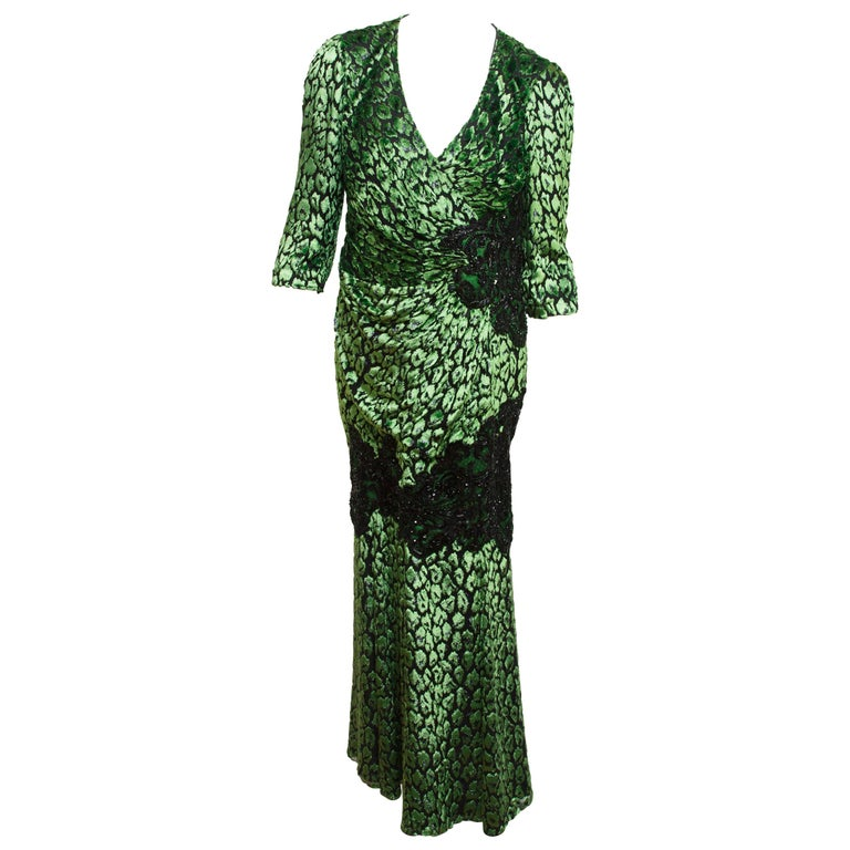 Andrew Gn Metallic Green & Black Embellished Gown For Sale