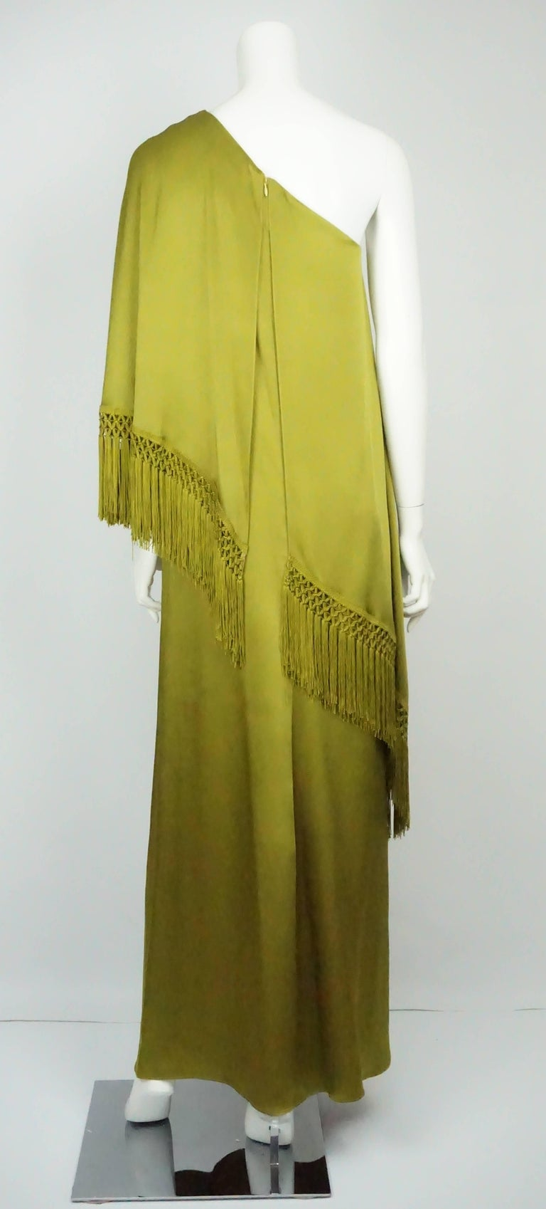 Brown Andrew Gn Olive Green Silk One Shoulder Gown with Fringe   For Sale