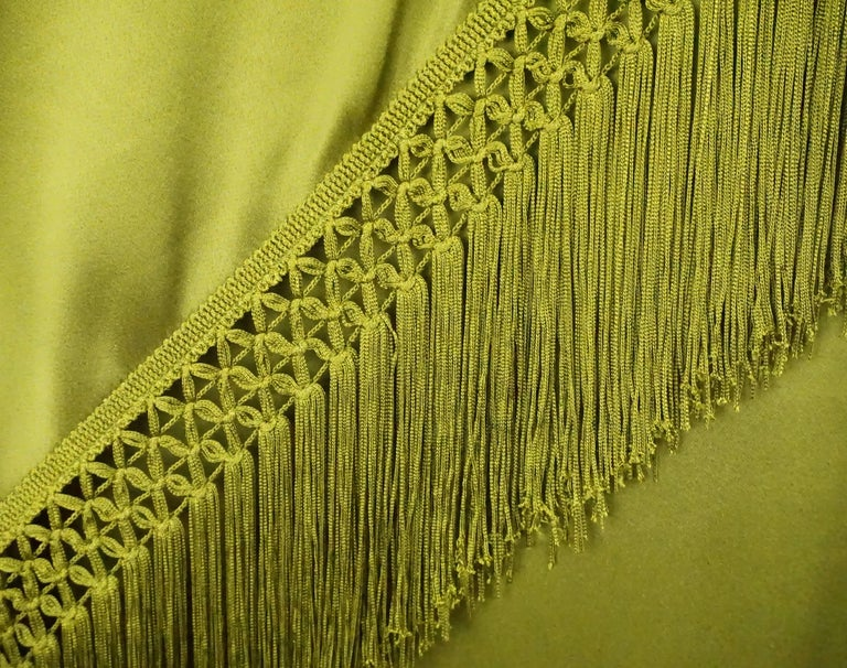 Andrew Gn Olive Green Silk One Shoulder Gown with Fringe   In Excellent Condition For Sale In Palm Beach, FL