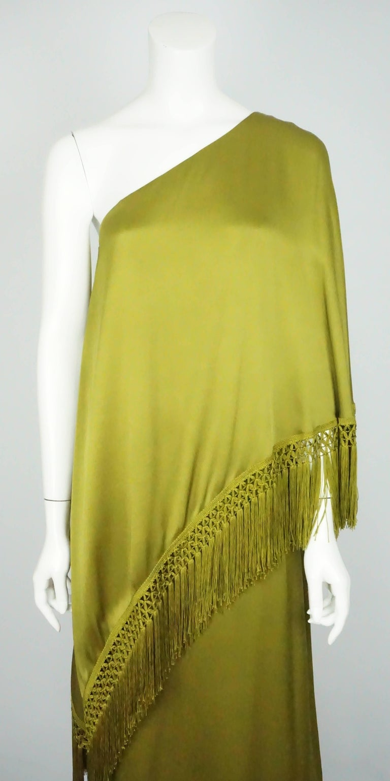 Women's Andrew Gn Olive Green Silk One Shoulder Gown with Fringe   For Sale