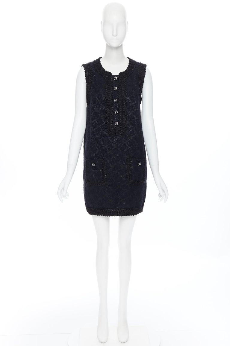 Black ANDREW GN PF2010 black jacquard wool scalloped tweed trim sheath dress FR40 For Sale