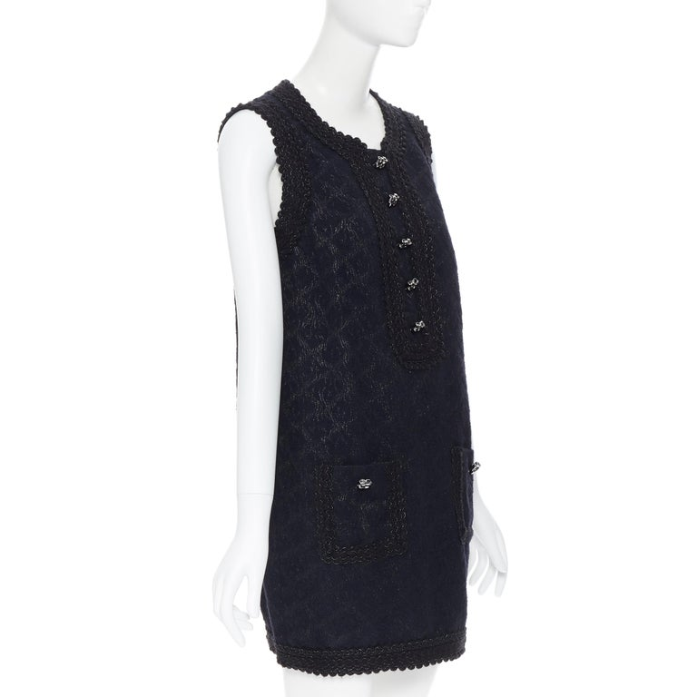 ANDREW GN PF2010 black jacquard wool scalloped tweed trim sheath dress FR40 In Excellent Condition For Sale In Hong Kong, NT