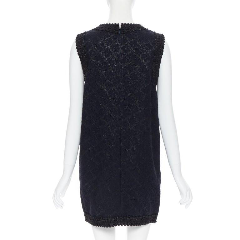 ANDREW GN PF2010 black jacquard wool scalloped tweed trim sheath dress FR40 For Sale 1