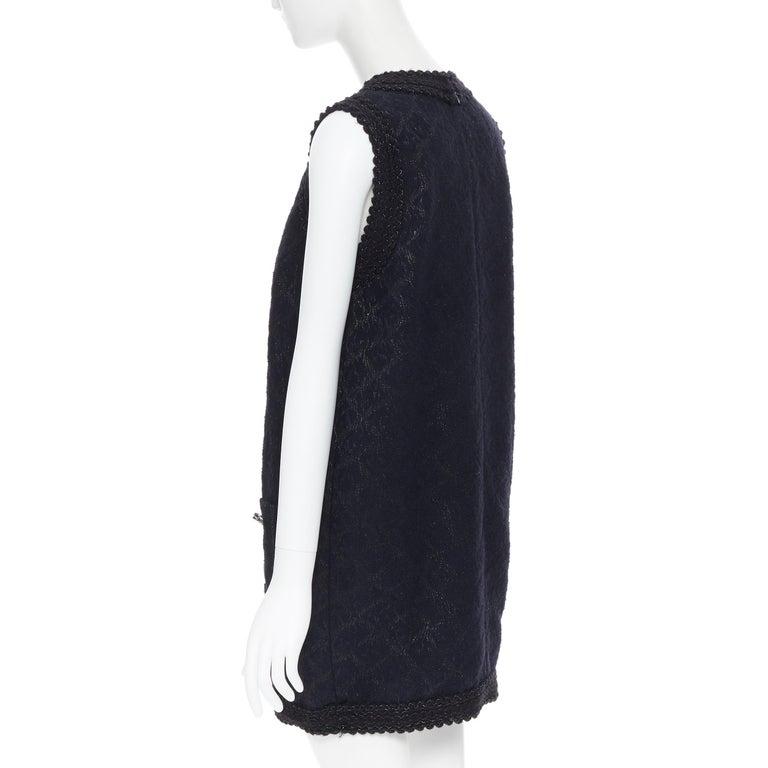 ANDREW GN PF2010 black jacquard wool scalloped tweed trim sheath dress FR40 For Sale 2