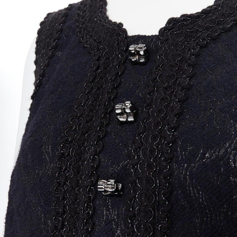 ANDREW GN PF2010 black jacquard wool scalloped tweed trim sheath dress FR40 For Sale 4