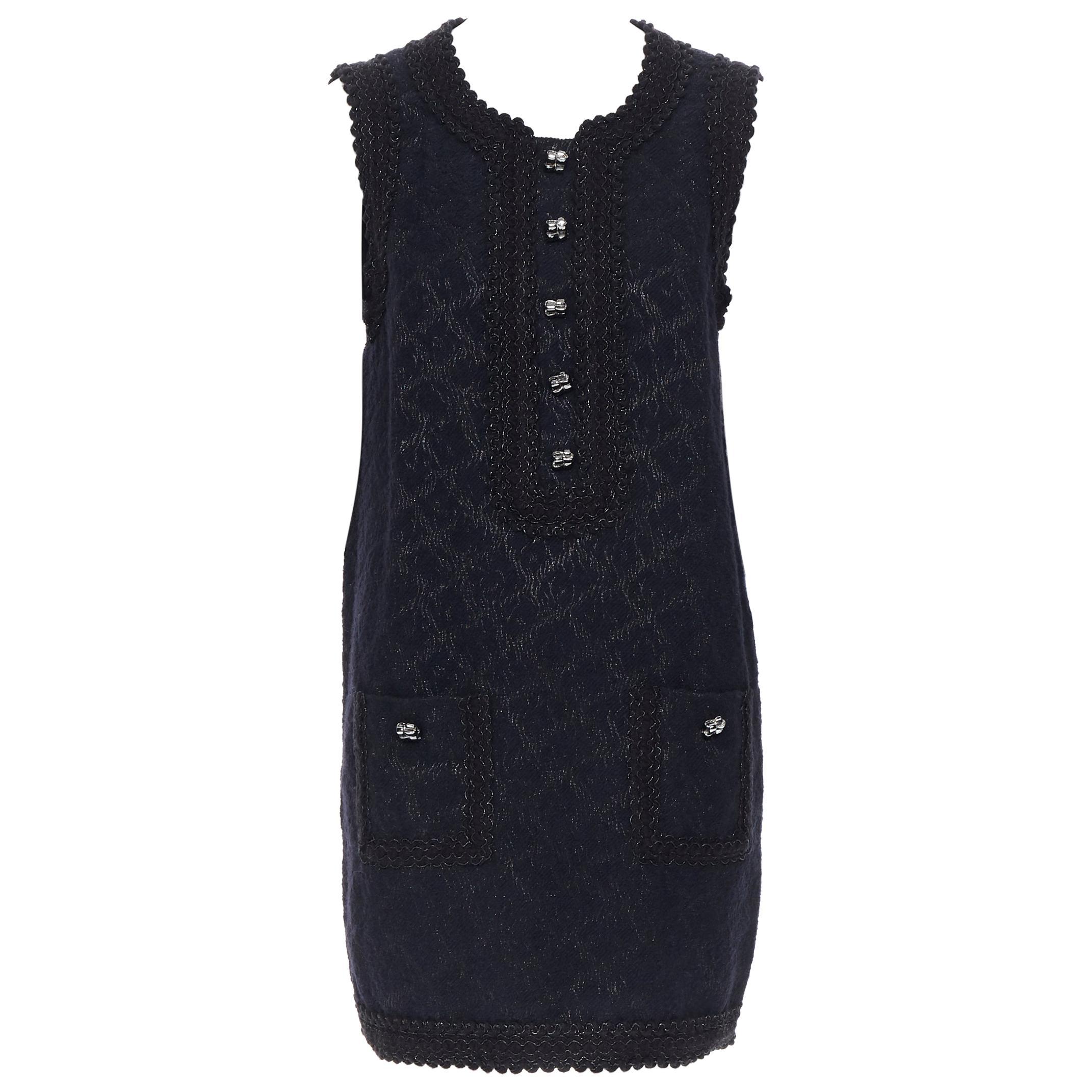 ANDREW GN PF2010 black jacquard wool scalloped tweed trim sheath dress FR40
