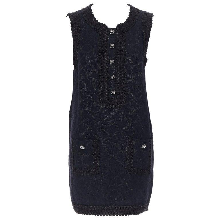 ANDREW GN PF2010 black jacquard wool scalloped tweed trim sheath dress FR40 For Sale