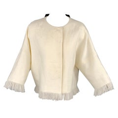 ANDREW GN S/S 18 Size 4 Cream Woven Linen Fringe Snap Button Jacket