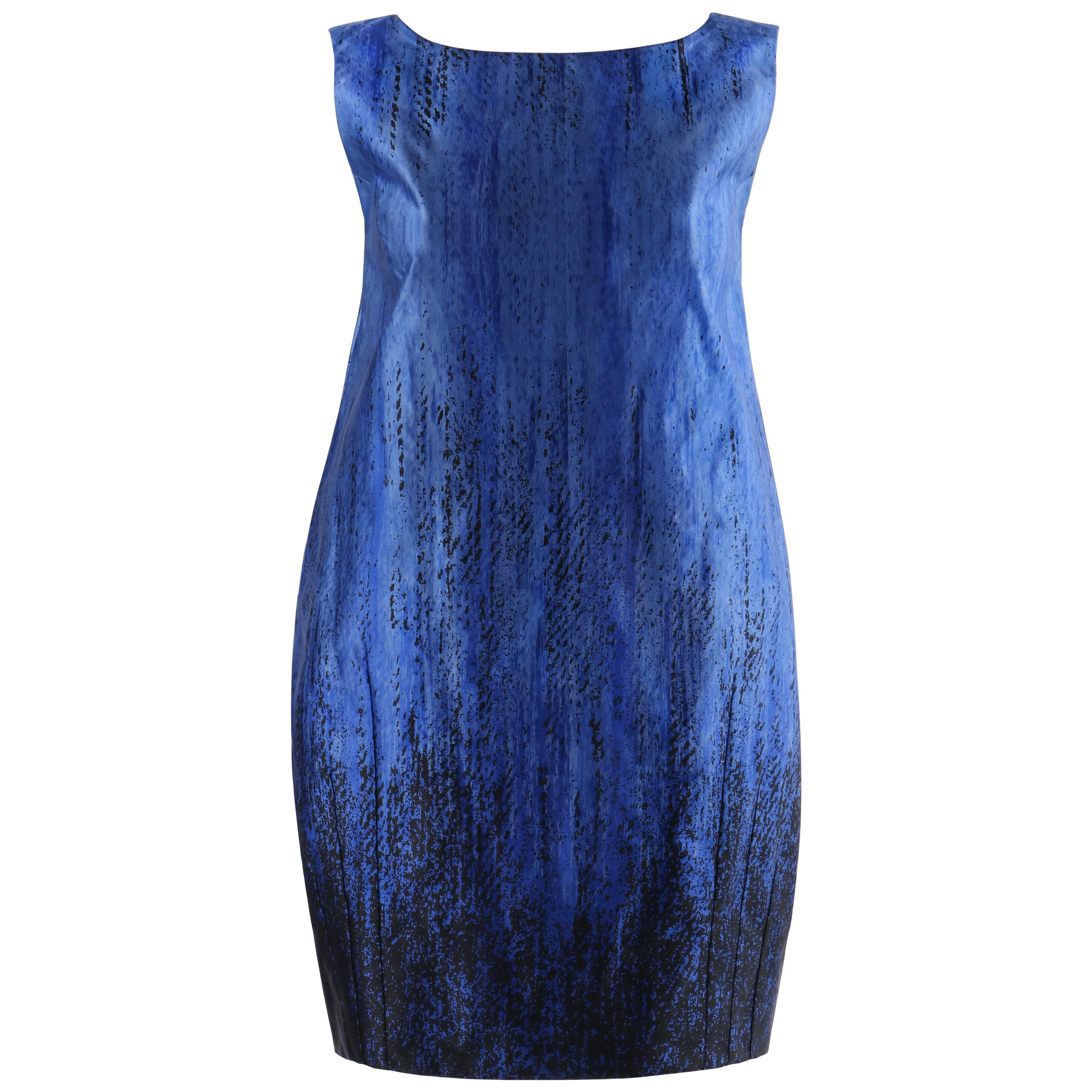 ANDREW GN S/S 2008 Blue Black Ombre Silk Pleat Balloon Dress Patent Leather Bow