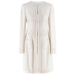 Andrew GN white collarless tweed coat US 10