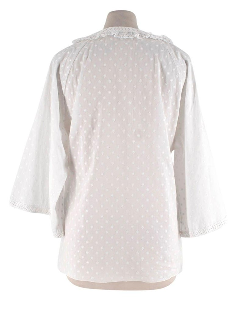 Gray Andrew GN White Embroidered Peasant Top - Size US6 For Sale