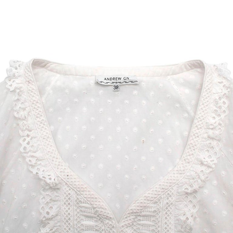 Andrew GN White Embroidered Peasant Top - Size US6 In Excellent Condition For Sale In London, GB