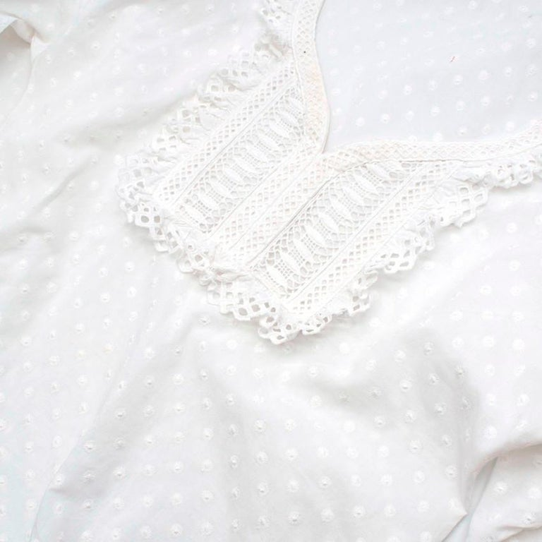 Andrew GN White Embroidered Peasant Top - Size US6 For Sale 2