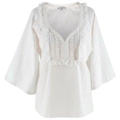 Andrew GN White Embroidered Peasant Top - Size US6