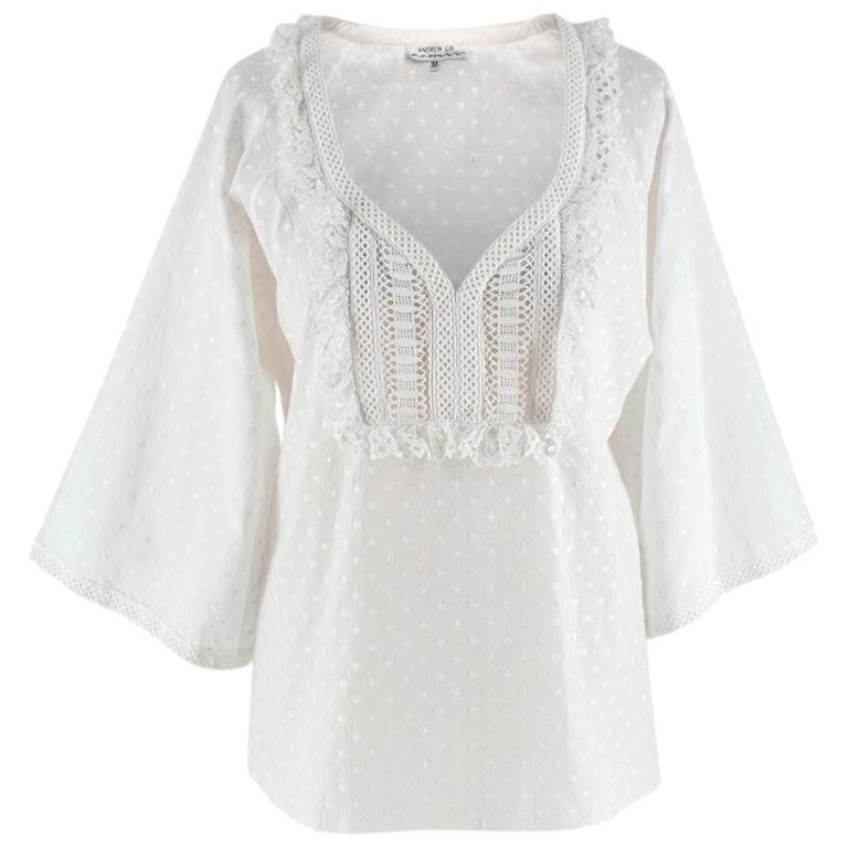 Andrew GN White Embroidered Peasant Top - Size US6 For Sale