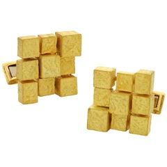 Andrew Grima 18 Carat Gold Swivel Cufflinks of Multi-Square Textured Design