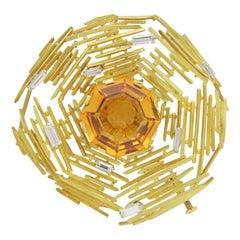 Andrew Grima 18 Karat Gold, Citrine and Diamond Brooch