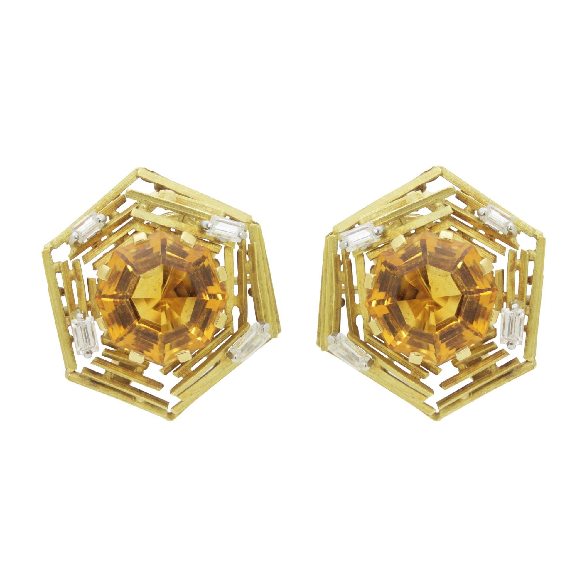 Andrew Grima 18 Karat Gold, Citrine and Diamond Ear Clips