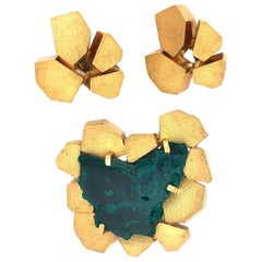 Andrew Grima 1970s Dioptase and Gold Pendant or Brooch and Earrings