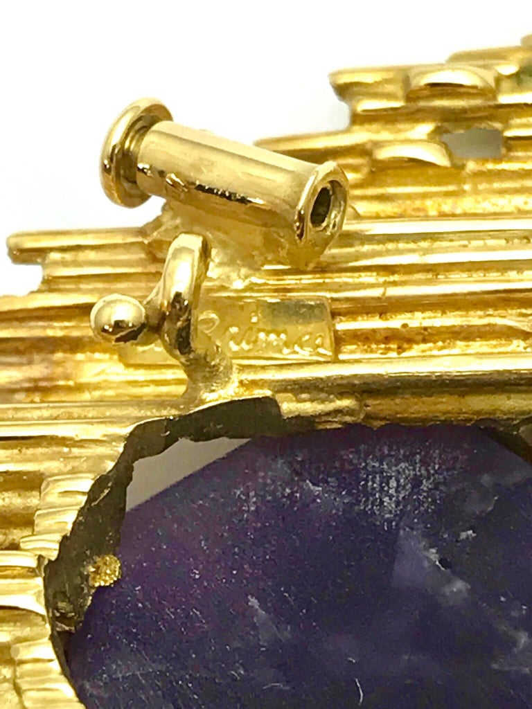 Andrew Grima Amethyst and Yellow Gold Pendant Brooch For Sale 4