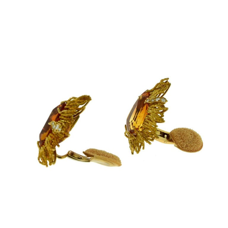 Andrew Grima Citrine, Diamond Yellow Gold Textured Wire Brooch Earring Large Set In Excellent Condition For Sale In Miami, FL