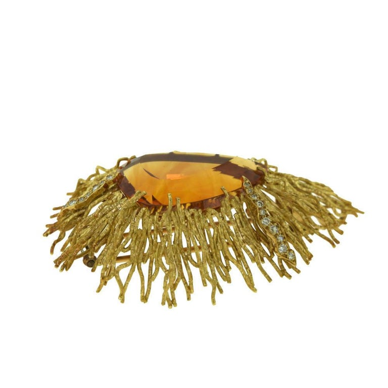 Andrew Grima Citrine, Diamond Yellow Gold Textured Wire Brooch Earring Large Set For Sale 1