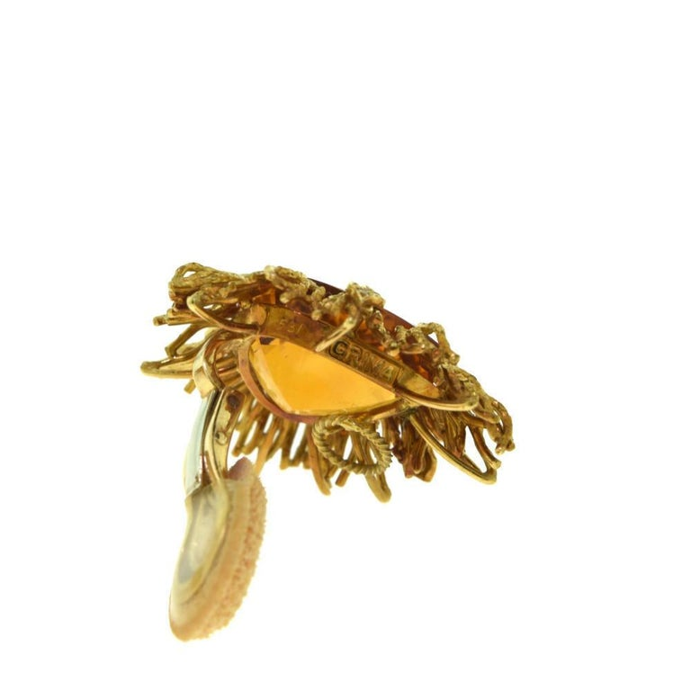 Andrew Grima Citrine, Diamond Yellow Gold Textured Wire Brooch Earring Large Set For Sale 3