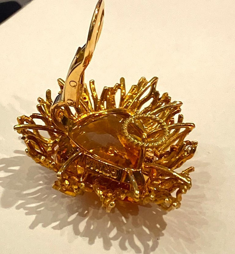 Andrew Grima Citrine, Diamond Yellow Gold Textured Wire Brooch Earring Large Set For Sale 4